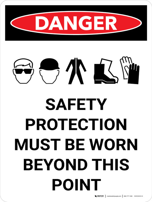 Danger: PPE Safety Protection Portrait with Graphic - Wall Sign