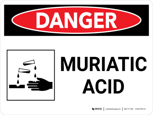 Danger: Muriatic Acid Landscape with Graphic - Wall Sign