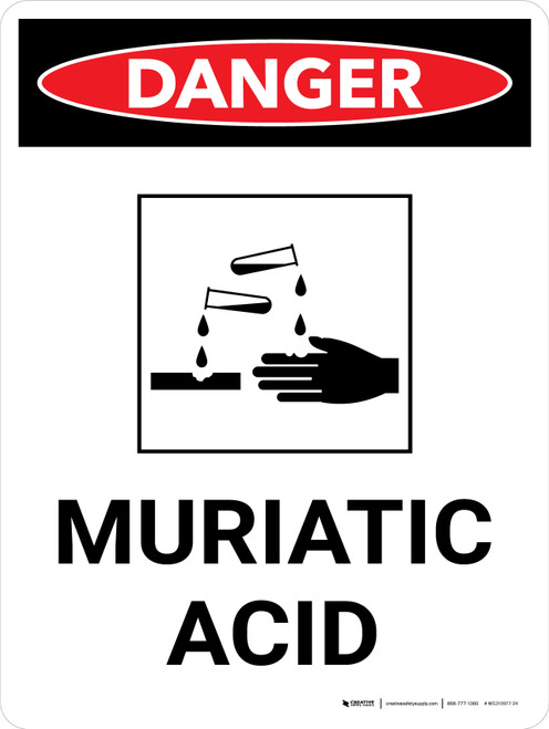 Danger: Muriatic Acid Portrait with Graphic - Wall Sign