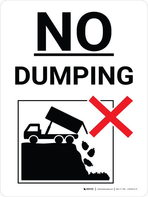 No Dumping Black and White Portrait with Graphic - Wall Sign