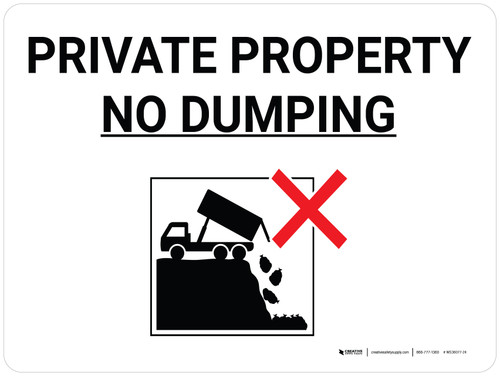 Private Property No Dumping Black and White Landscape with Icon - Wall Sign