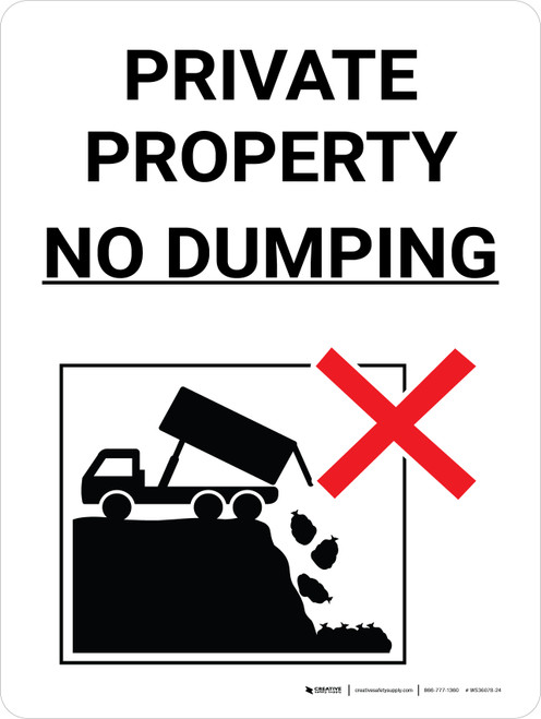 Private Property No Dumping Black and White Portrait with Graphic - Wall Sign