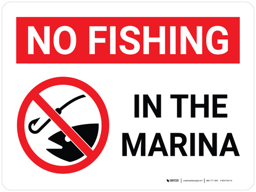 No Fishing In The Marina Landscape with Icon - Wall Sign