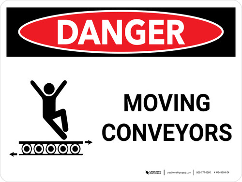 Danger: Moving Conveyors Landscape with Graphic - Wall Sign