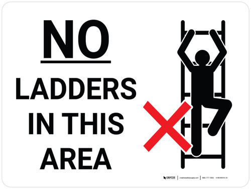 No Ladders In This Area Landscape with Icon - Wall Sign