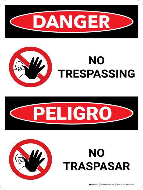 Danger: No Trespassing Bilingual with Graphic - Wall Sign