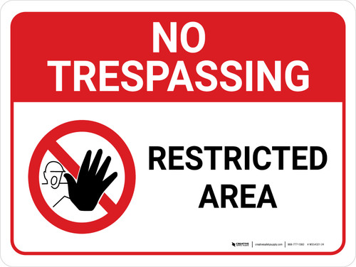 No Trespassing: Restricted Area Landscape with Graphic - Wall Sign