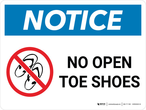 Notice: No Open Toe Shoes Landscape with Icon - Wall Sign