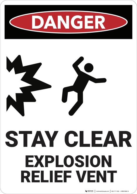 Danger: Stay Clear Explosion Relief Vent - Wall Sign