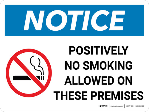 Notice: Positively No Smoking Allowed On These Premises Landscape with Icon - Wall Sign
