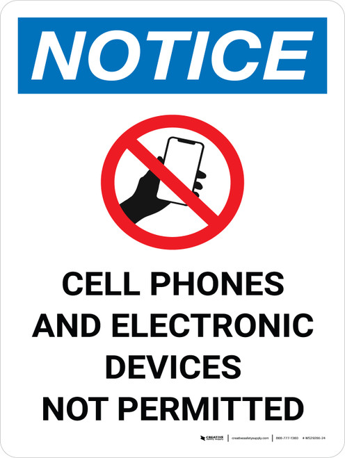 Notice: Cell Phones and Electronics Not Permitted Portrait with Icon - Wall Sign