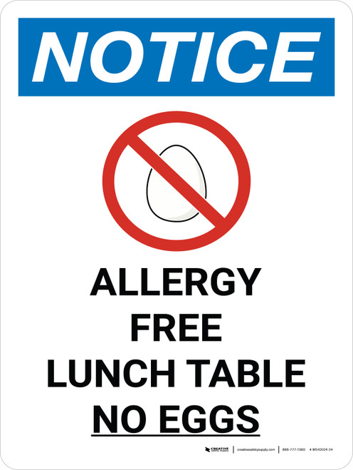 Notice: Allergy Free Lunch Table Portrait with Icon - Wall Sign