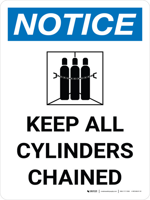 Notice: Keep All Cylinders Chained Portrait with Icon - Wall Sign