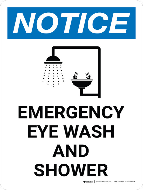 Notice: Emergency Eye Wash and Shower Portrait with Icon - Wall Sign