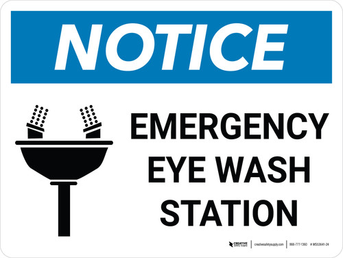 Notice: Emergency Eye Wash Station Landscape with Icon - Wall Sign
