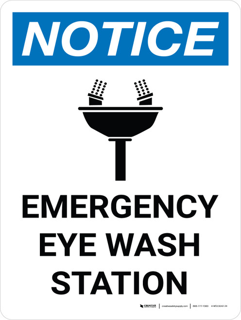Notice: Emergency Eye Wash Station Portrait with Icon - Wall Sign