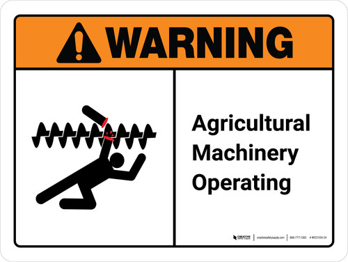Warning: Agricultural Machinery Operating ANSI Landscape - Wall Sign