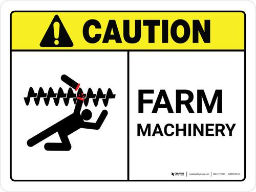 Caution: Farm Machinery ANSI Landscape - Wall Sign