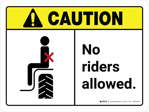 Caution: No Riders Allowed ANSI Landscape - Wall Sign
