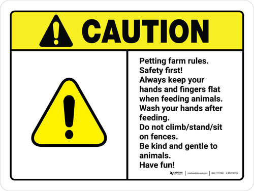 Caution: Petting Farm Rules Safety First ANSI Landscape - Wall Sign