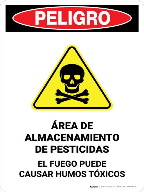 Danger: Pesticide Storage Area Fire Spanish Portrait - Wall Sign