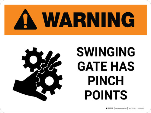 Warning: Swinging Gate Has Pinch Points Landscape - Wall Sign