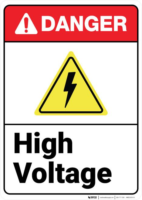 Danger: High Voltage ANSI - Wall Sign