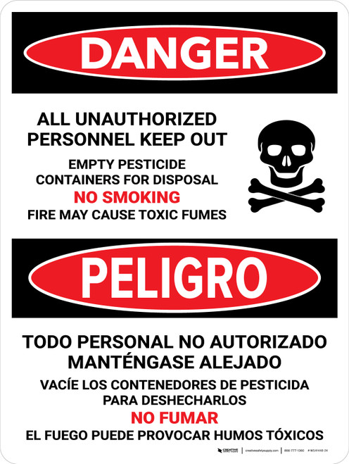 Danger: All Unauthorized Personnel Keep Out Empty Bilingual Portrait - Wall Sign