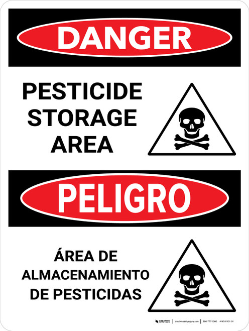 Danger: Pesticide Storage Area Bilingual Portrait - Wall Sign