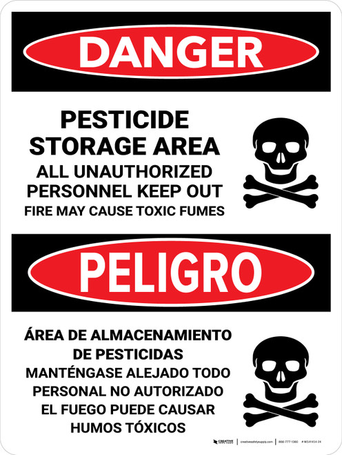 Danger: Pesticide Storage Unauthorized Keep Out Bilingual Portrait - Wall Sign