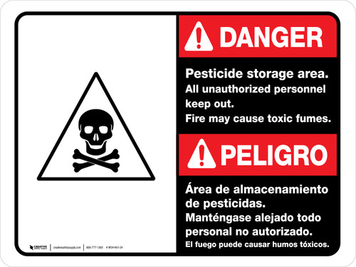 Danger: Pesticide Storage Unauthorized Keep Out Bilingual ANSI Landscape - Wall Sign
