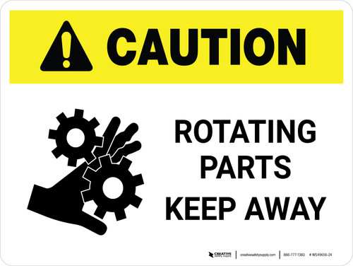 Caution: Rotating Parts Keep Away Landscape - Wall Sign
