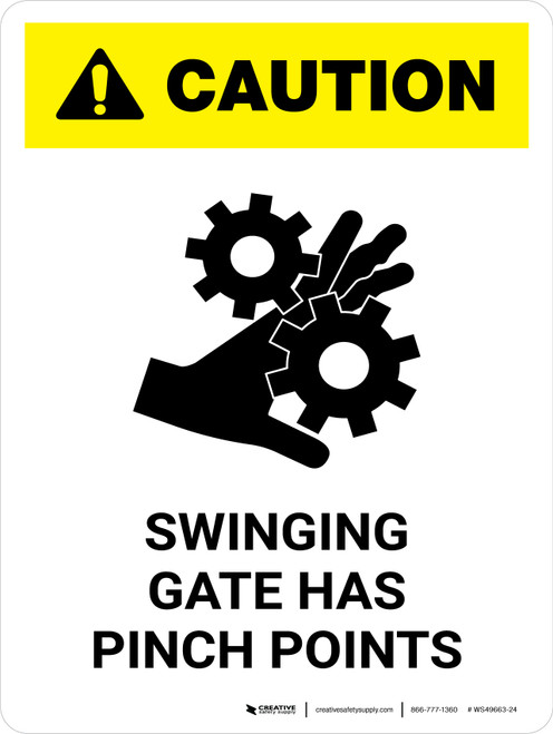 Caution: Swinging Gate Has Pinch Points Portrait - Wall Sign