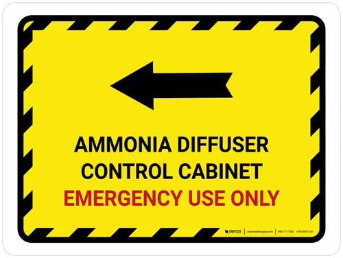 Ammonia Diffuser Control Cabinet Left Arrow Landscape - Wall Sign