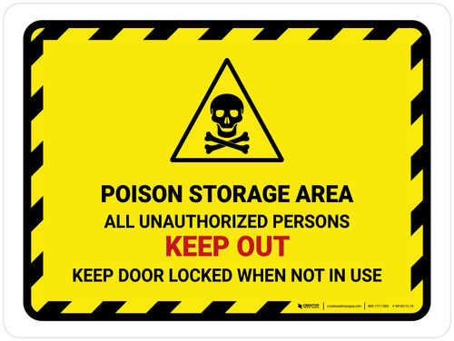 Poison Storage Area All Unauthorized Landscape - Wall Sign