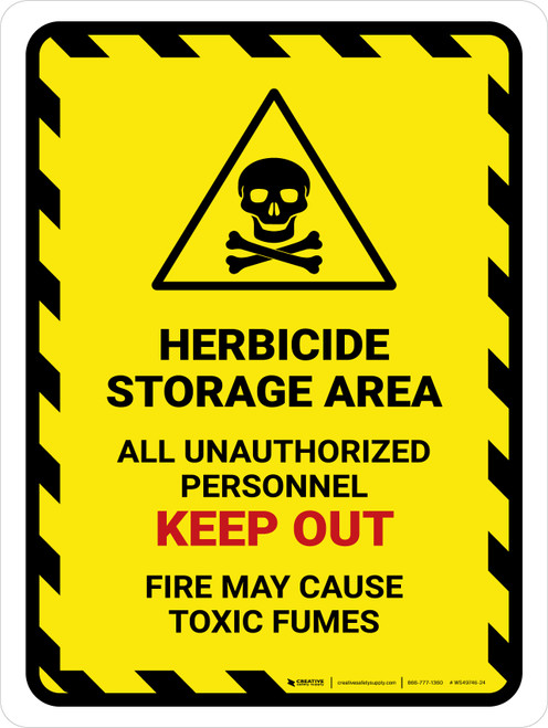 Herbicide Storage Area All Unauthorized Portrait - Wall Sign