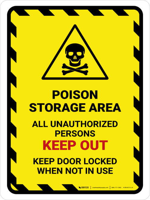 Poison Storage Area All Unauthorized Portrait - Wall Sign