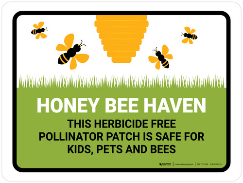 Honey Bee Haven - Herbicide Free Pollinator Patch Landscape - Wall Sign