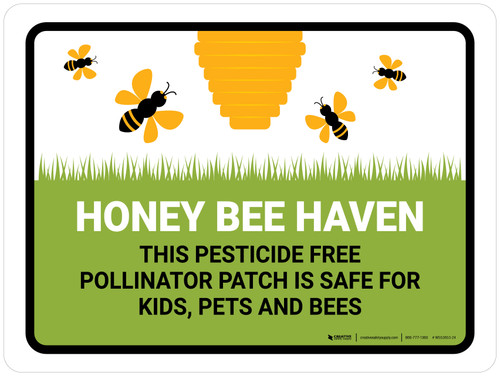 Honey Bee Haven - Pesticide Free Pollinator Patch Landscape - Wall Sign
