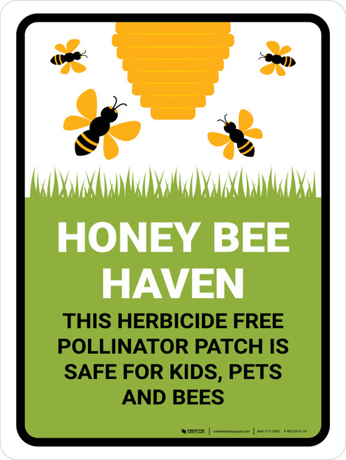 Honey Bee Haven - Herbicide Free Pollinator Patch Portrait - Wall Sign