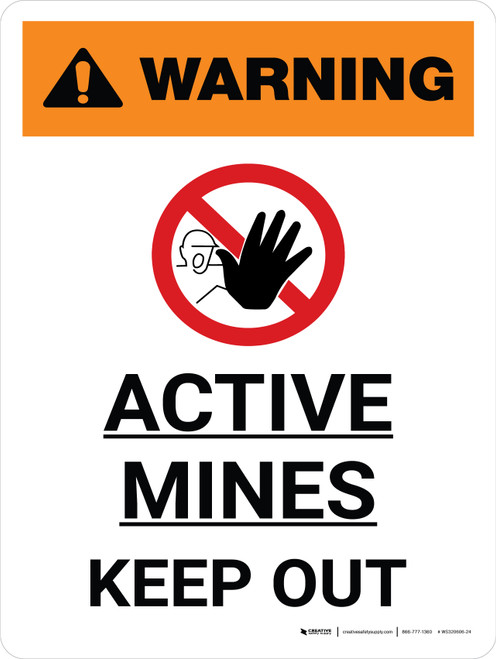 Warning: Active Mines Keep Out Portrait With Icon - Wall Sign