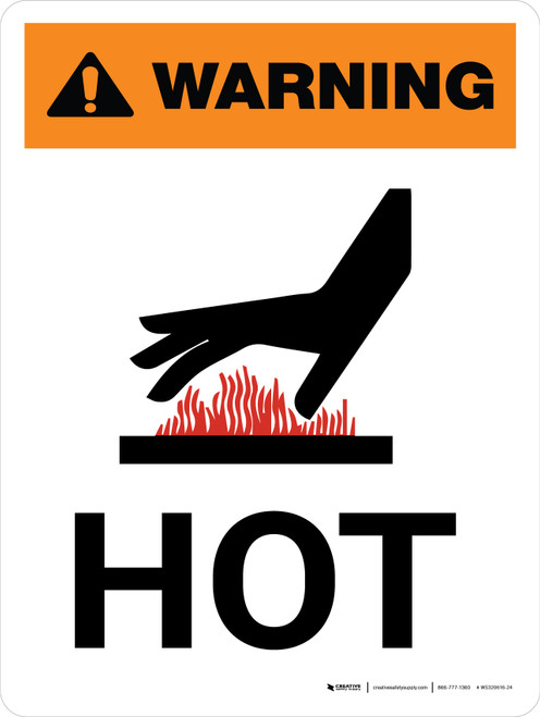 Warning: Hot Portrait White With Hot Surface Icon - Wall Sign