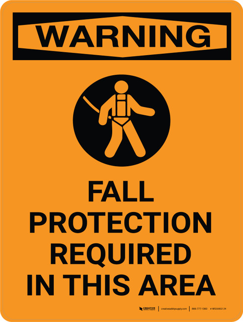 Warning: Fall Protection Required Area Portrait With Icon - Wall Sign