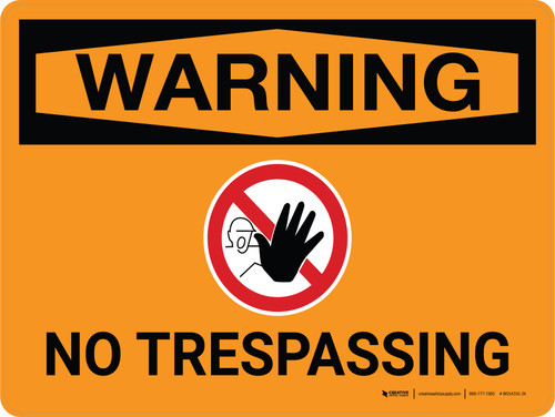 Warning: No Trespassing Landscape With Icon - Wall Sign