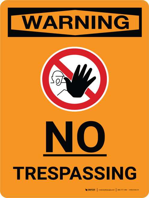 Warning: No Trespassing Portrait With Icon - Wall Sign