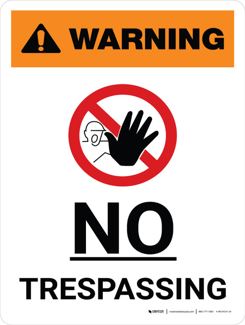 Warning: No Trespassing Portrait With Icon