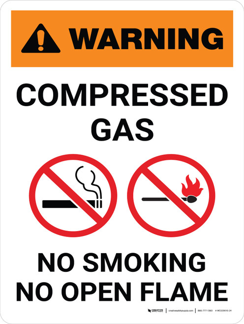 Warning: Compresses Gas - No Smoking/No Open Flame Portrait White With Icon - Wall Sign