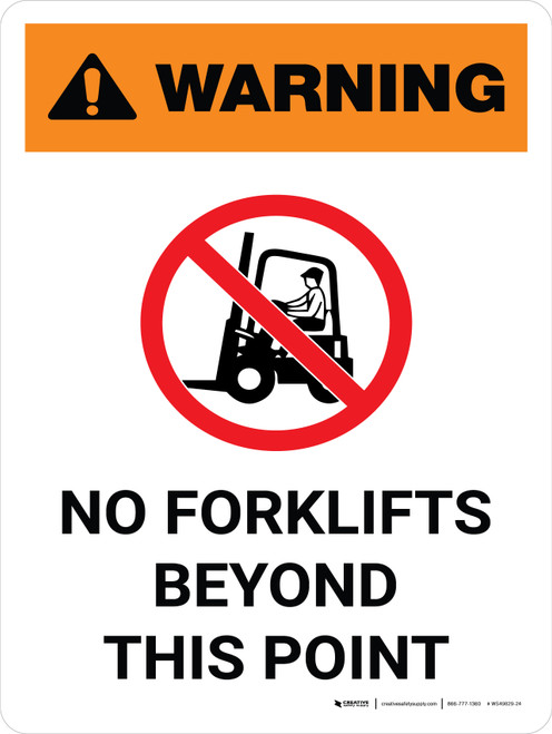 Warning: No Forklifts Beyond This Point Portrait White With Icon - Wall Sign