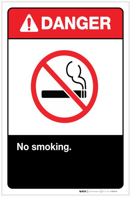 Danger: No Smoking ANSI with Icon Portrait - Label