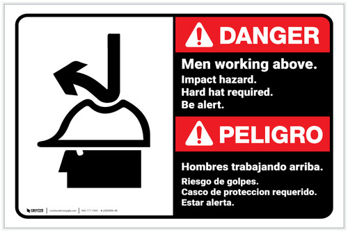 Danger: Men Working Above - Impact Hazard/Hard Hat Required with Icon Bilingual Landscape - Label
